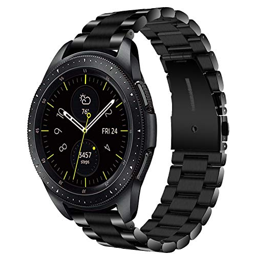 VIGOSS kompatible Galaxy Watch 42mm Armband, [Upgrade] poliert und gebürstet solides Metall Edelstahlarmband Männer Ersatz Armband Samsung Galaxy Watch 42mm SM-R810 Smartwatch(42mm, Schwarz) Galaxy Metall