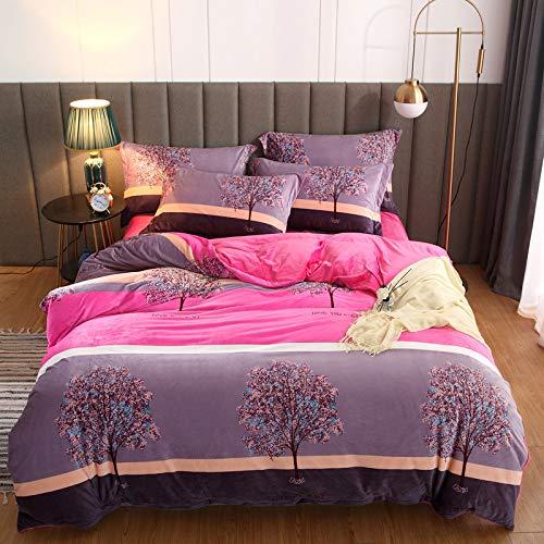 yaonuli Vierteiliges warmes Set mit Kristall-Samtdruck und 1,8 m breitem Bett