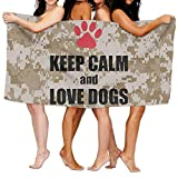 Yuerb Keep Calm and Love Dogs 100% Polyester Velvet Absorbent Washcloths 31 X 51 inches