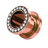 Piercingfaktor Flesh Tunnel Schraub Plug Ohr Piercing Edelstahl Titan mit Schraubverschluss Zirkonia Kristallen Steinen 10 mm Rosegold Rose Gold