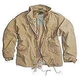 US Vintage Feldjacke Feldparka 2 in 1 mit Futter und Kaputze Windschutz Herbstjacke Stone Washed Oliv, Schwarz oder Sandfarben S-3XL (XL, Sandfarben)
