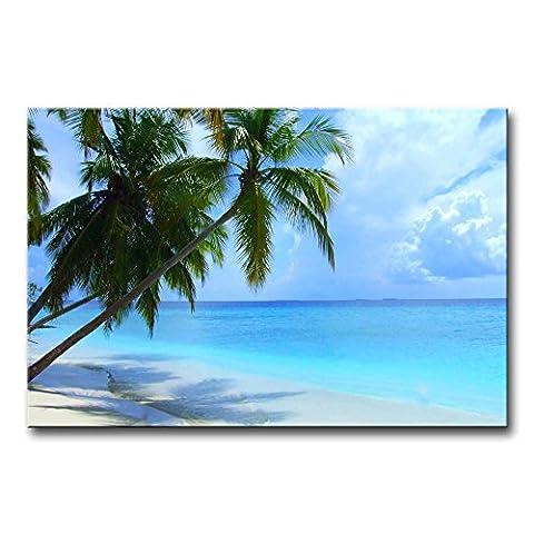 Mur Art Peinture Plage Maldives Arbre de Noix de Coco Nuage Blanc Bleu océan de la Photo sur toile Paysage marin Photos huile pour Home Decor imprimé moderne Décoration pour chambre de fille