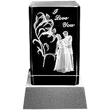 Kaltner Präsente Lampada per illuminazione d' atmosfera–particolare idea regalo: candela LED/blocco in vetro cristallo/incisione 3d al laser, motivo amore I love you