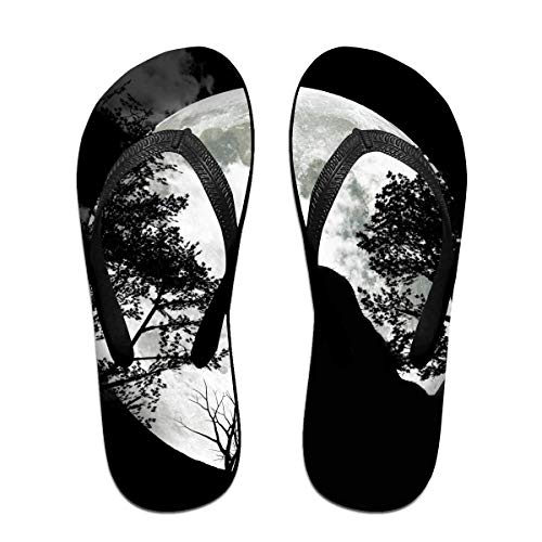 Wolf Howling Moon Unisex Adults Casual Flip-Flops Sandal Pool Party Slippers Bathroom Flats Open Toed Slide Shoes Large -