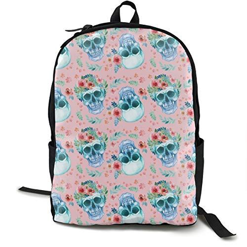 Sugar Skull Watercolor Spring Flowers Pastel Water Color Pink Adult Premium Travel Backpack, Water-Resistant College School Bookbag, Sport Daypack, Outdoor Rucksack, Laptop Bag for Men&Women -