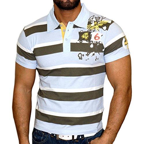 Rusty Neal Kurzarm Slim Fit Herren Rundhals Shirt Motiv T-Shirt Schwarz RN-357 Türkis