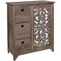 ts-ideen Cómoda estantería de madera bicolor estilo de la alquería rustico shabby para baño pasillo cocina sala con tallado