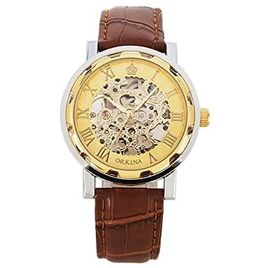 Gute Retro Men's Skeleton Hand Wind Mechanical Analogue Wrist Watch Roman Numeral Brown Leather Strap Luminous Hands…