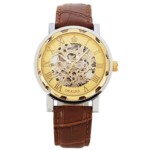 - 51HdANGlVjL - GuTe Golden Steampunk Unisex Mechanical Hand-wind Wristwatch Skeleton Brown Band