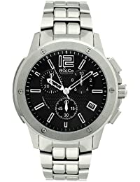 R&Co Men's Quartz Watch with Black Dial Chronograph Display and Silver Stainless Steel Bracelet RGB00001/46/19
