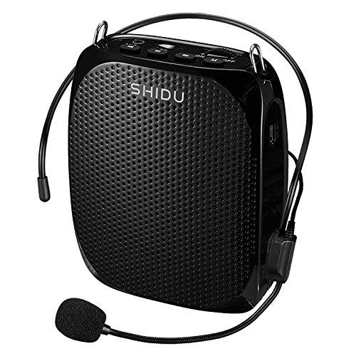 Mini Amplificatore di Voce da Cintura Portatile con Microfono ad Archetto e cavo Portatile Altoparlante FM Microfono per Insegnante, Allenatore, Guida ecc, Nero