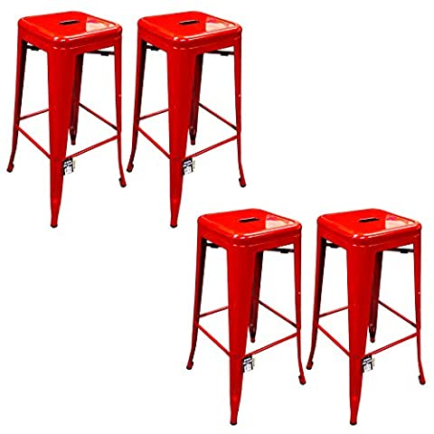 Marko Furniture Metal Breakfast Bar Stool Seat Chair Industrial Vintage Classic Style Kitchen (4, Red)