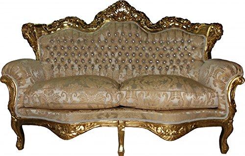 Barock 2-er Sofa Master Creme Barock Muster/Gold mit Bling Bling Glitzersteinen Mod3 - Wohnzimmer Couch Möbel Lounge