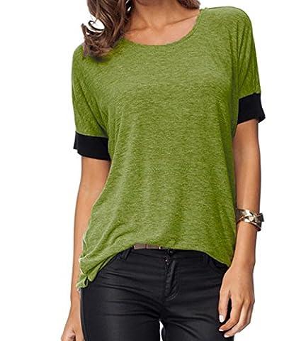 Damen Rundhals Oberteil ZJCTUO Lose Kurzarm Mode Bunt Atmungsaktiv T-Shirt Tops(36, Armeegrün)