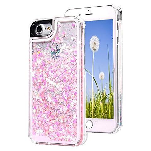 iPhone 7 Hülle, Wuloo handyhülle Fließende Flüssigkeit Handy Shell Mode kreatives Design Glitzer Funkelnde bunte kleine Liebe Handyhülle schutzhülle für iPhone 7 4,7-Zoll Display (Pink)