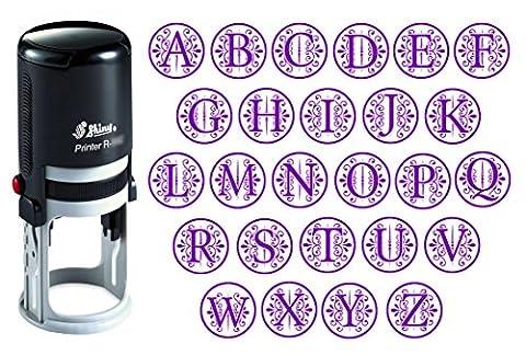 Benutzerdefinierte A-Z Alphabet Stamp in Violet Ink-Monogramm Runde Stempel Selbst Farbwerk Initial Stamp SHINY Mini Stamper 20 mm