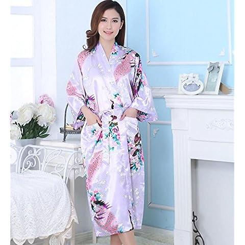 LY&HYL Señoras verano batas y ropa albornoz Tang traje pijama lavanda batas de baño , purple ,