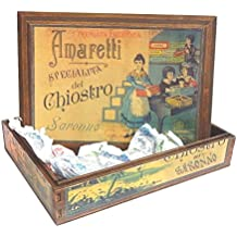 Saronno Cloister Specialty Crispy Amaretti en caja de madera decorada - 1 x 100 Gram