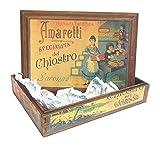 Saronno Kreuzgang Spezialität knusprige Amaretti in dekorierten Holzkiste - 1 x 100 Gramm