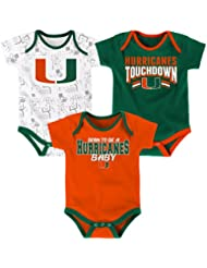 "Miami Hurricanes NCAA ""Playmaker"" Infant 3 Pack Bodysuit Creeper Set"