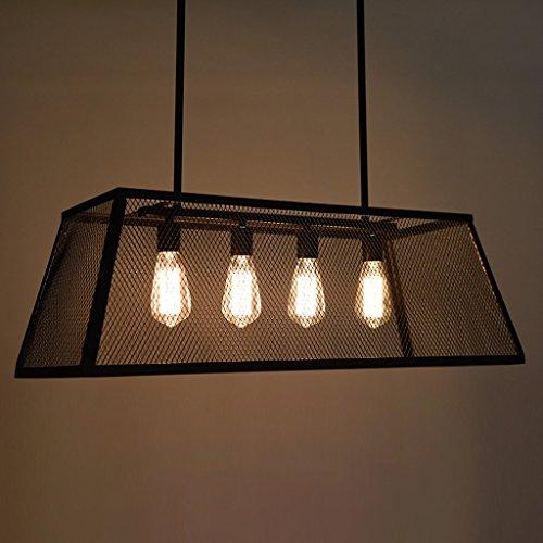 Modeen LOFT Retro Weinlese-Netz-Garn-Eisen-Kronleuchter rechteckige 4 Lichter industrielle Art-Mattschwarz-Eisen-Käfig-hängende Lampe - Art-haar-eisen