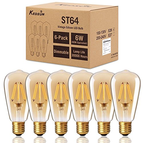 Glühbirnen Dimmer (Dimmable Vintage Edison LED Birne - KEDSUM 6W E27 ST64 Warm 2200K (Amber Glow) 350Lumens, Energiesparen, 6er Pack - 60W Glühbirne Äquivalent - LED Glühbirnen, Vintage Schraube Glühbirne, Antike Eichhörnchen Käfig Licht, Retro Dekorative Glühbirnen)