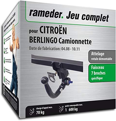 Rameder Attelage rotule démontable pour CITROËN BERLINGO Camionnette + Faisceau 7 Broches (144099-06732-1-FR)