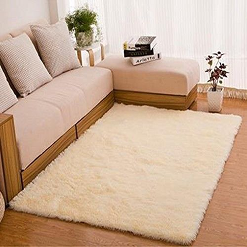 Gemini_mall®, morbido tappeto a pelo lungo, a tinta unita, per soggiorno e camera da letto, polipropilene, beige, 80x120cm (2ft7