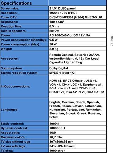 LED MANTA 22 LED220Q7 FHD 12V