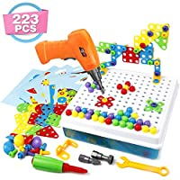 3D Puzzle Take Apart Construction Pegboard Toys DIY Building Blocks with Screwdrivers Assembly Educational Toy Birthday Gifts Set for Kids Girls Boys Age 3 4 5 (223 Pcs)