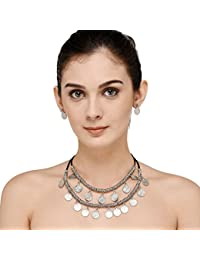 Vr Designers Premium Quality Dual Strand Silver Tone Metal Coin Necklace And Earrings Set For Women