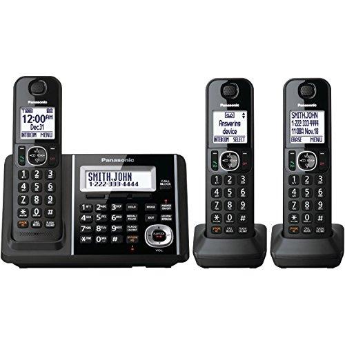 Panasonic Black Digital Cordless Phone And Answering Machine With 3 Handsets - KX-TGF343B