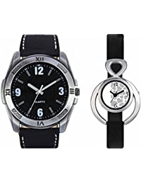 SVM VL34VT11 New Couple Combo Designer Stylish Leather & Plastic Belt Analog Watch For Men & Women