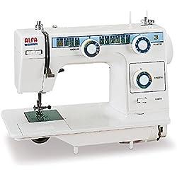 Alfa Modelo 393 TDL - Máquina de coser de mesa, con 23 puntadas, color blanco