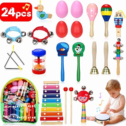 Jojoin strumenti musicali bambini, 24 pezzi percussioni per bambini con borsa, la maggior parte dei compleanni musicali, creativi ed educativi e regali di natale per bambini