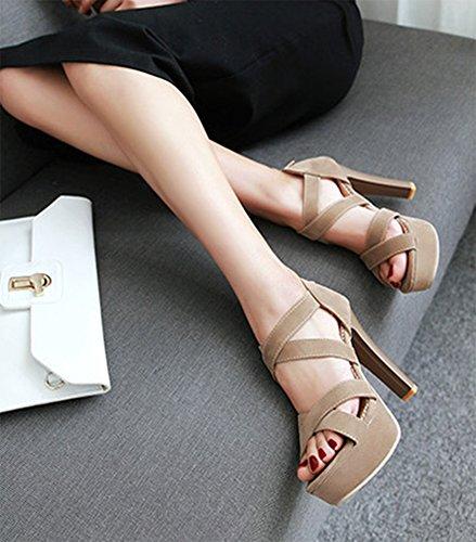 Aisun Damen Neu Gekreuzt Open Zehen Trichterabsatz Reißverschluss Sandalen Aprikosenfarben