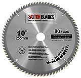 Saxton TCT-Kreissägeblatt für Holz, 255mm x 80 Zähne, mit 25,4-mm-Reduzierring - passend für Sägen von Evolution Rage