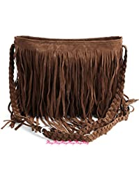 Sac a Epaule Bandouliere Tresse a Franges en Suede Style Hobo Loisir Femme Fille