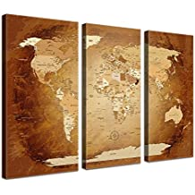 "'Lana KK–Lienzo–""Worldmap Brown Colorful Alemán En Marco de madera mapamundi Foto lienzo en marrón, tríptico) & enmarcado en 150x 100cm"