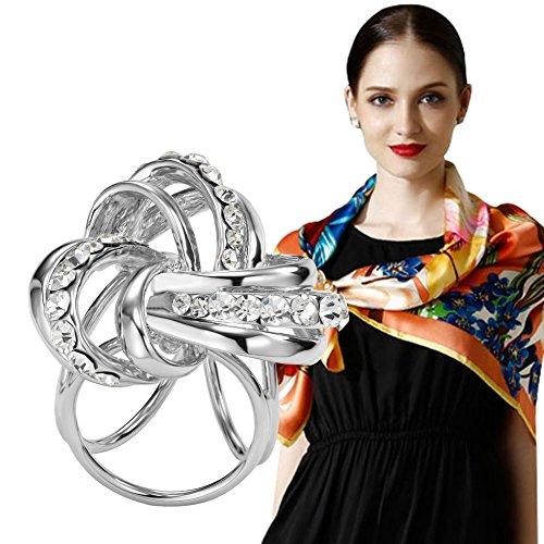 S&E Frauen elegante Drei Ringrhinestone Metallic Schals Clip Modische Schals Ring Chiffon Buckle (Weiß, Metalllegierung)
