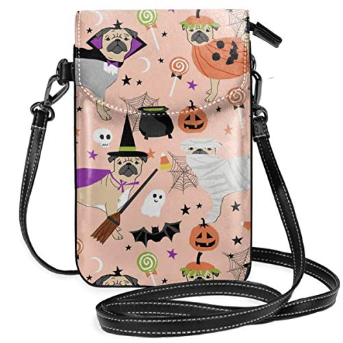 best pillow Pug Halloween Costume Cute Dogs In Costumes Peach Small Crossbody Bag Lightweight Leather Cell Phone Purse With Credit Card Slot