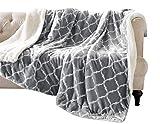 Kuscheldecke Grau Lammfelloptik Wohndecke Tagesdecke Decke Sherpa Ornament Flauschig Weich und Angenehm Warm Perfekt für Winter Microlight to Berber 127x150cm