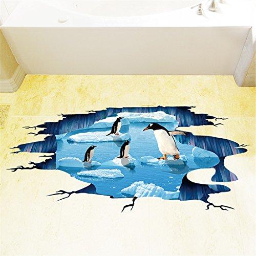 ALLDOLWEGE Personalisierte Wohnzimmer 3-D-Simulation Studie der Antarktis Pinguine Aufkleber fliesen Tapeten Badezimmer WC-Tür Wand Kunst 3D-Gletscher