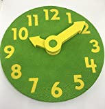 EduToys - Educational Time Learning Big Soft Clock for Kids Children - Size = 7 inches (18 cms) (Green+Yellow)