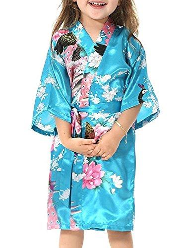 Yidarton Kinder Mädchen Morgenmantel Bademantel Nachtwäsche Kimono kurz aus Luxus Silky Satin mit Peacock und Blüten Blumenmuster Abend Robe (14 / 135-150 CM, Meeresblau)