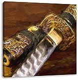 strahlendes Samurai-Schwert Kunst Pinsel Effekt, Format: 40x40 auf Leinwand, XXL riesige Bilder fertig gerahmt mit Keilrahmen, Kunstdruck auf Wandbild mit Rahmen, günstiger als Gemälde oder Ölbild, kein Poster oder Plakat