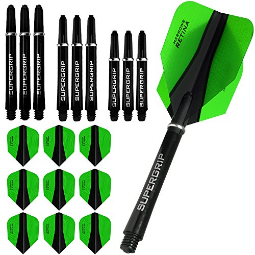 Harrows Retina-x plumas finas y 3 cañas y accesorios - (9) plumas estándar para dardos - 3 juegos de cañas - Supergrip verde