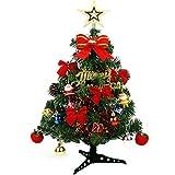 VNEIRW Mini Geschmückter künstlich Weihnachtsbaum mit LED und Bogen,Bunt Beleuchten Tannenbaum Schleifen Christbaumkugeln,Batteriebetrieben - Tolles Geschenk für Kinder Freund (60CM)