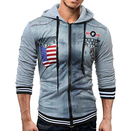Herrenmantel VENMO Herren Casual Print Bluse Langarm Pullover Outwear Mantel (XXL, Light Gray) (Print Hoody Zurück)