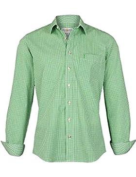 Almsach Herren Trachtenhemd Slim Fit Kariert Apfelgrün, Apple Hellgrün,